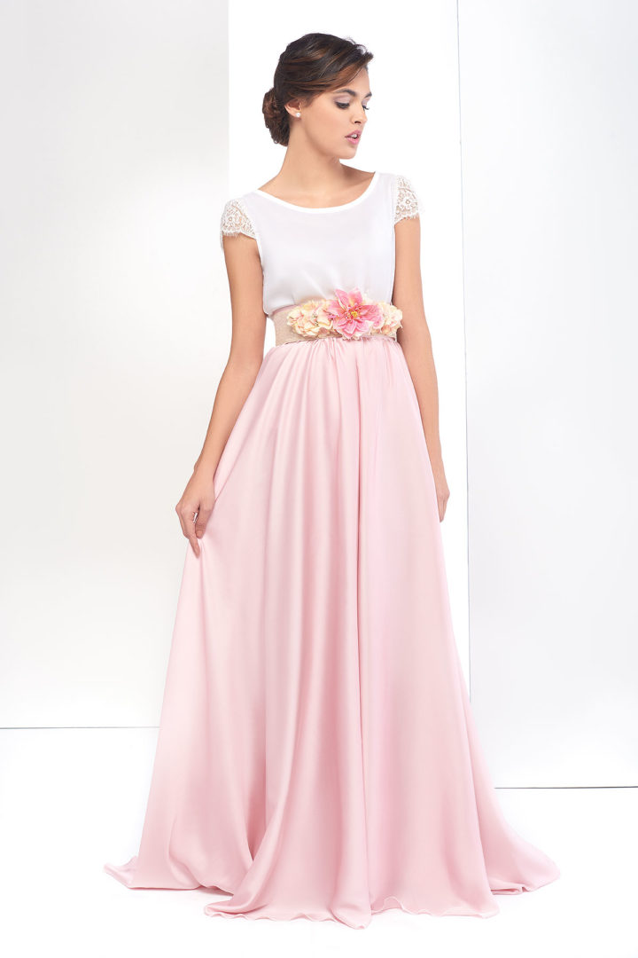 falda larga lisa rosa para fiestas o ceremonias