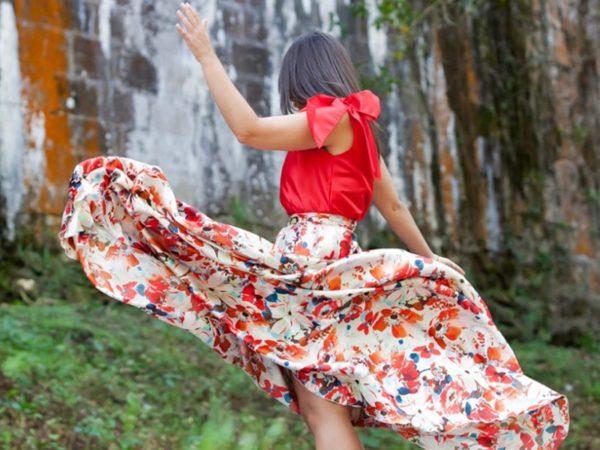 la huella de mis tacones conjunto de fiesta rojo Fátima Angulo